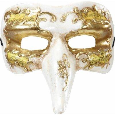 Nasone Masker Wit/Goud Met Decoratie
