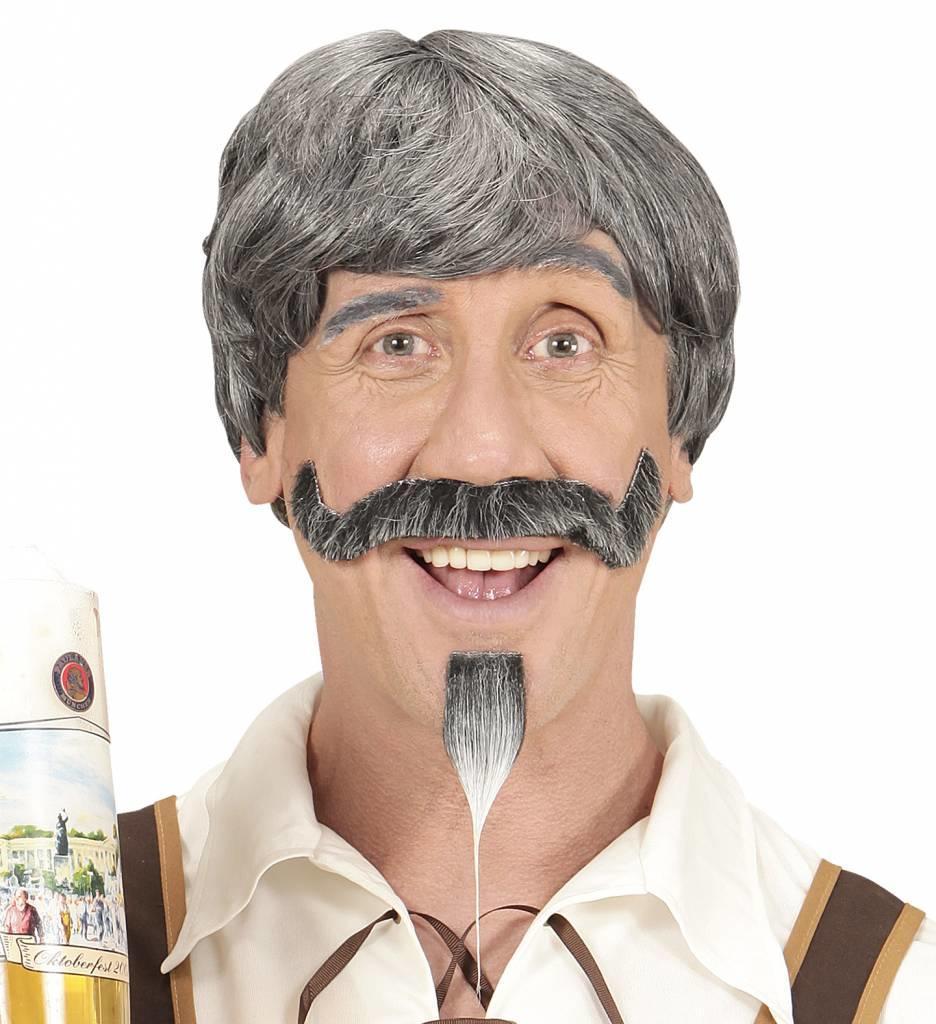 Pruik Beierse Man Met Snor En Sik
