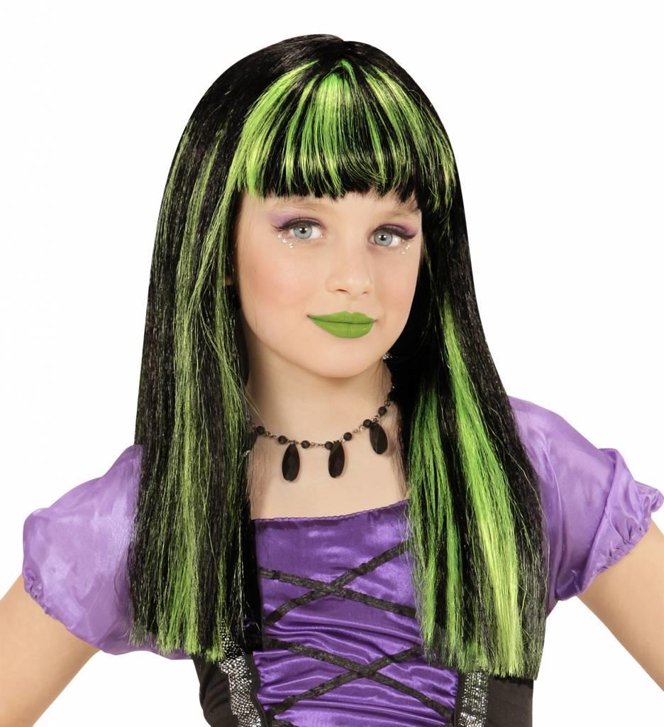Pruik Heks Met Groene Strepen Kind