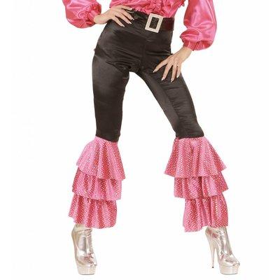Zwarte Broek Fluweel Met Wt/Roze  Pailletten Vrouw