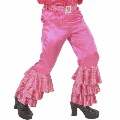 Roze  Broek Fluweel Met Pailletten Man