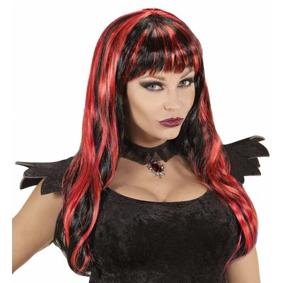 Pruik Halloween Zwart/Rood