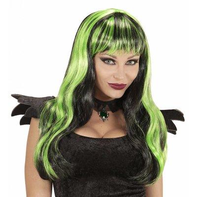 Pruik Halloween Zwart/Groen