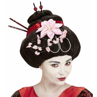 Pruik Geisha Met Bloemen En Stokjes