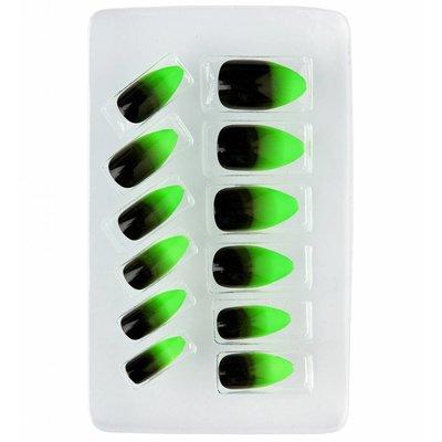 Nagels Stiletto Zwart/Neon Groen
