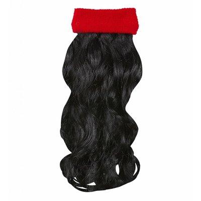 Rode Zweetband Met Zwart Gekruld Haar