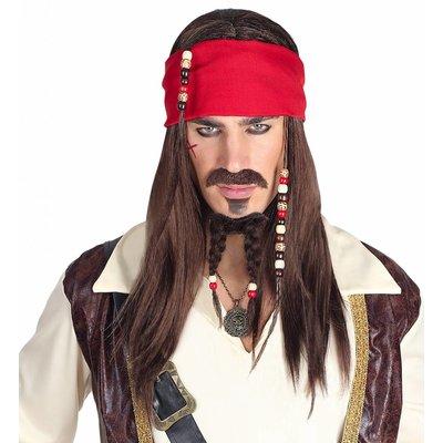 Pruik Caraibische Piraat Met Snor/Bandana