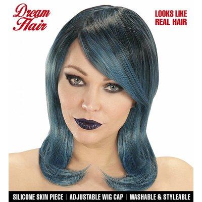 Pruik Megan Zwart/Blauw/Groen