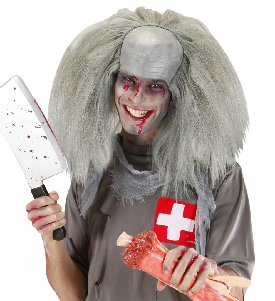 Pruik Kale Kop Met Haar Zombie