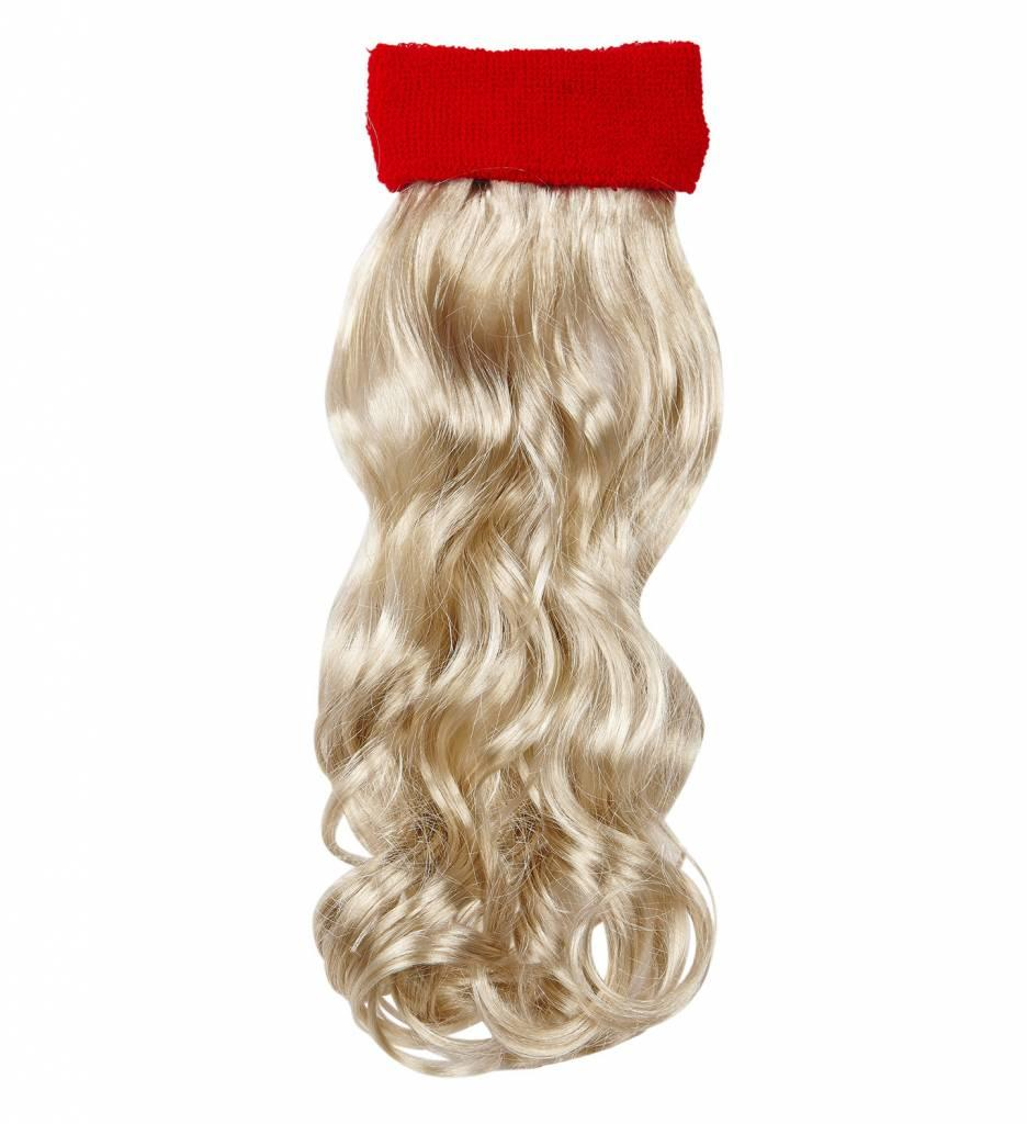 Rode Zweetband Met Blond Gekruld Haar