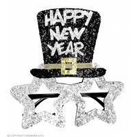 Bril Happy New Year Zilver
