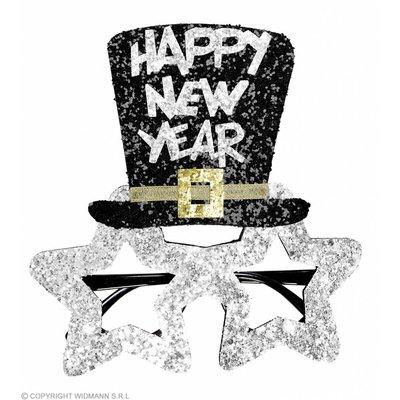 Bril Happy New Year Zilver