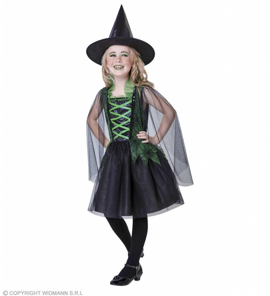 Heksenjurk Kind Groen met Heksenhoed