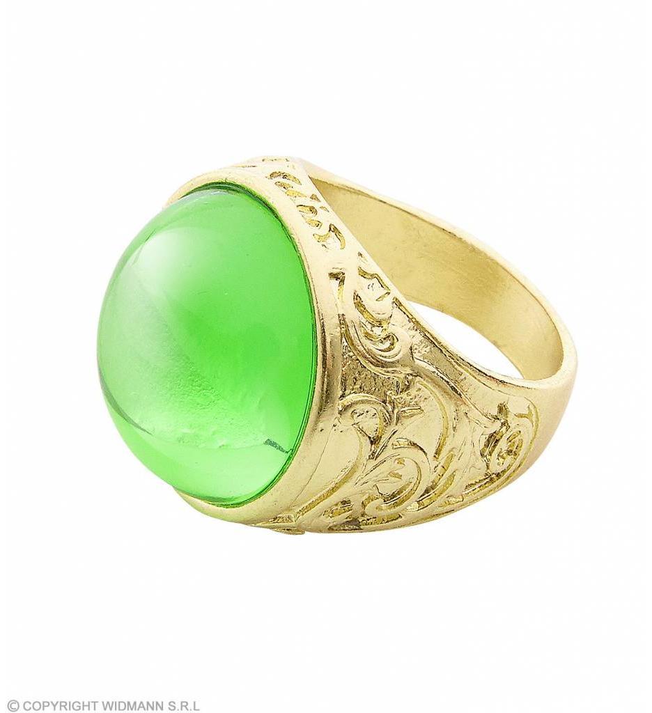 Gouden Ring Met Groene Steen