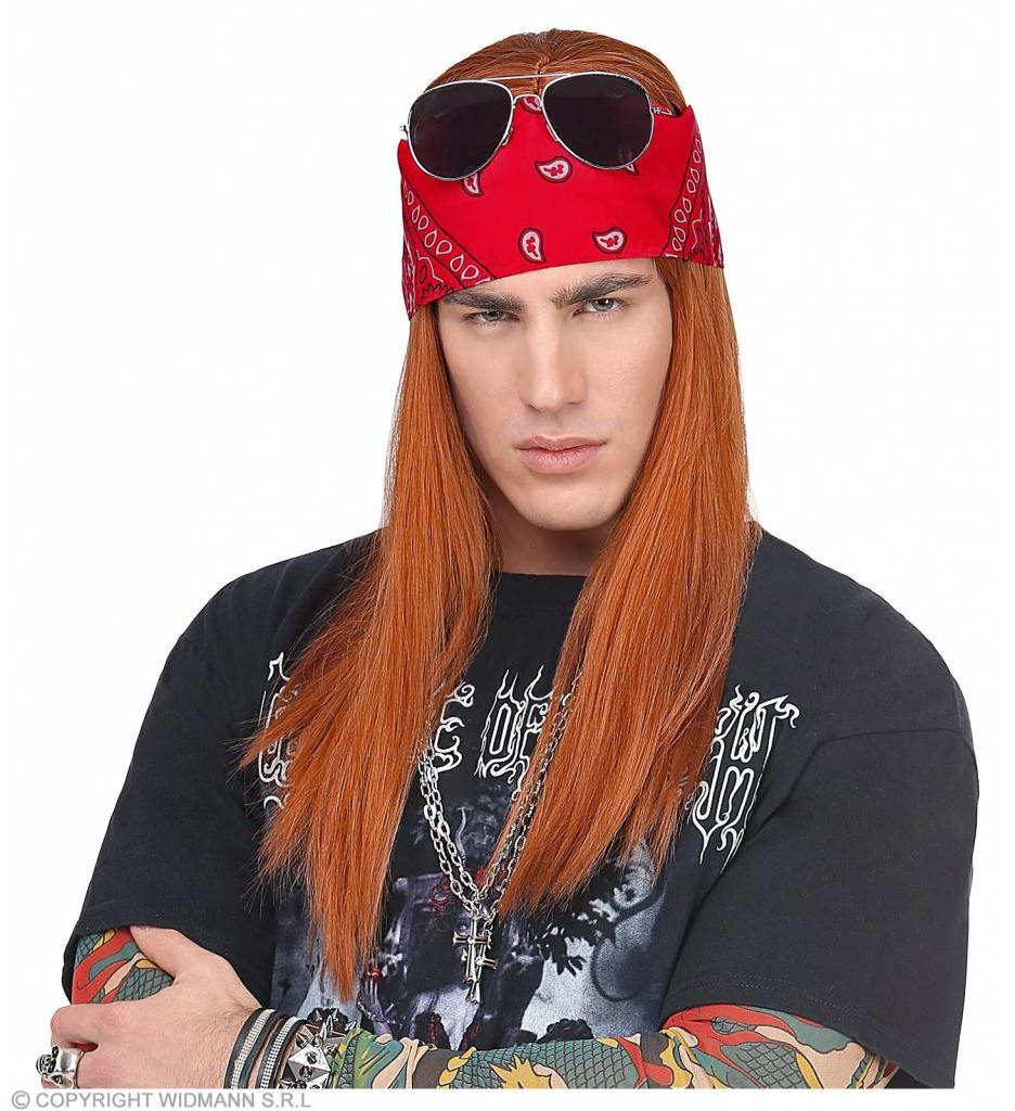 Pruik Rockster Met Bandana En Bril