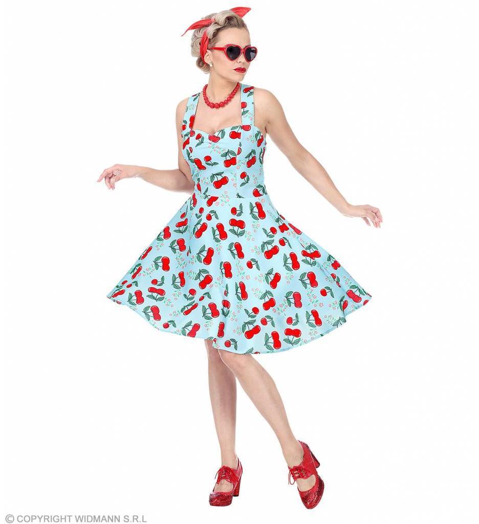 Modejurk 50'S Kersen Blauw