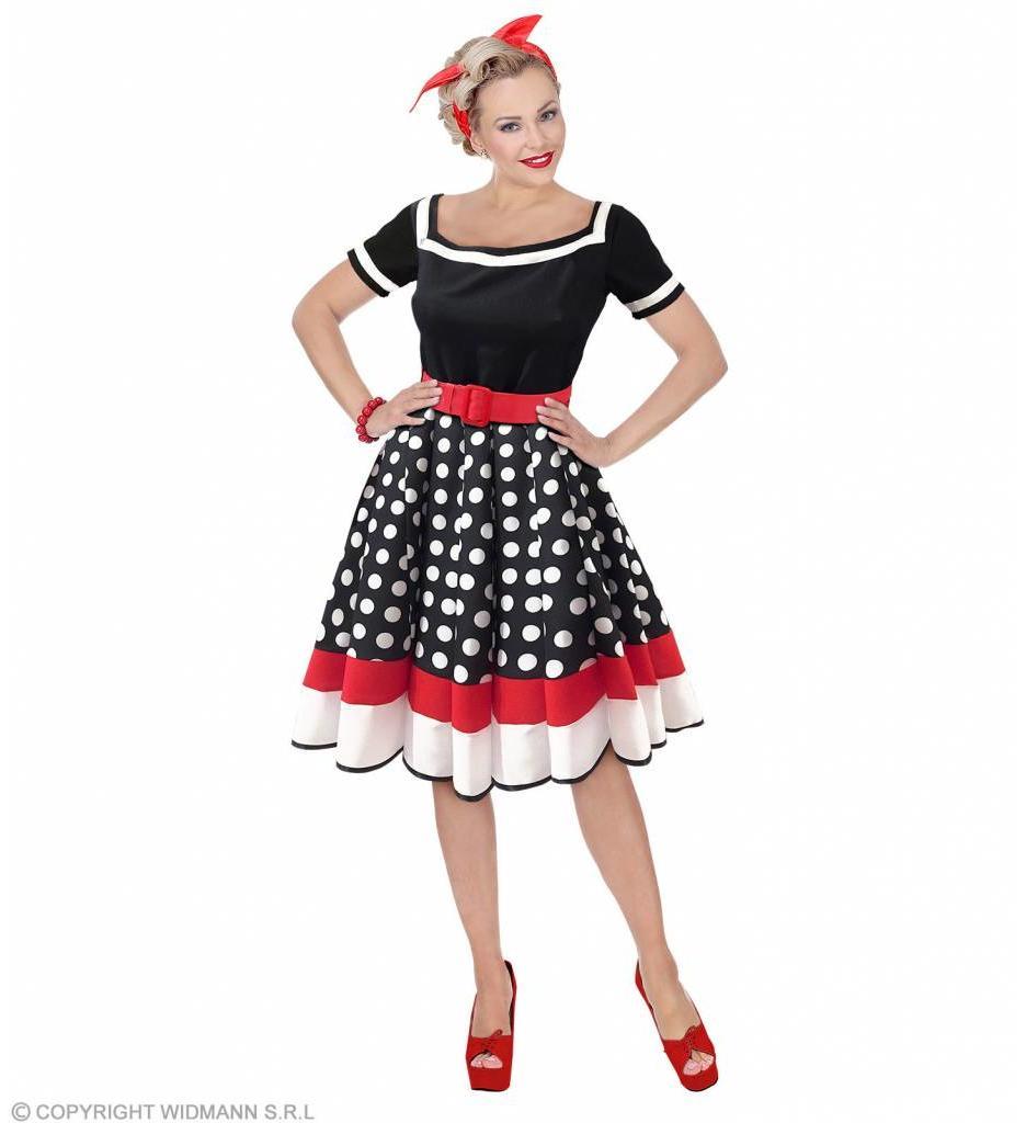 Modejurk 50'S Zwart/Rood