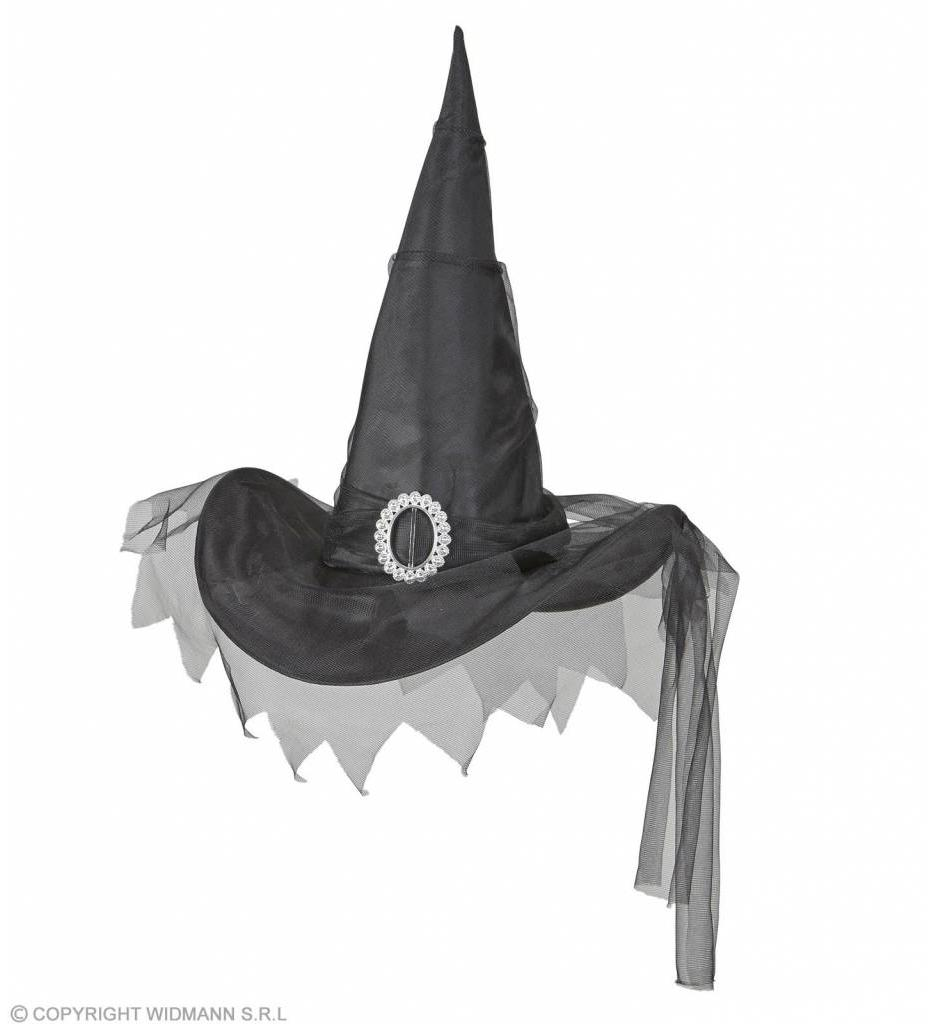 Heksenhoed Met Tule Zwart
