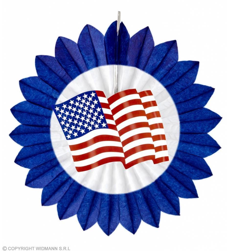 Papieren Waaier Usa Vlag Blauw 50Cm