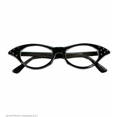Bril 50'S Zwart Met Strass