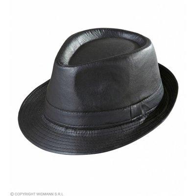 Zwarte Fedora Lederlook