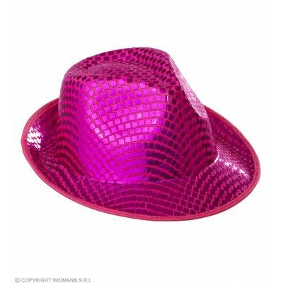 Fedora Hoed Vierkante Pailletten Roze