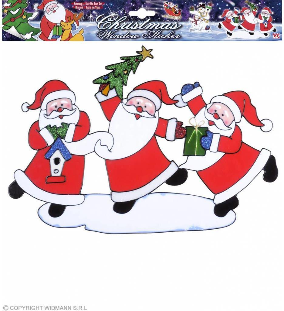 Horizontale Kerstman Stickers 40Cm