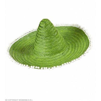 Sombrero 50Cm Groen Met Pom Poms