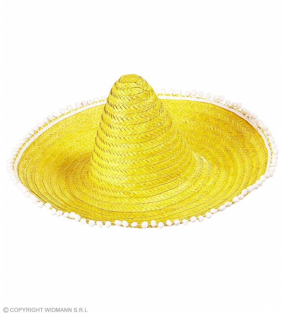 Sombrero 50Cm Geel Met Pom Poms