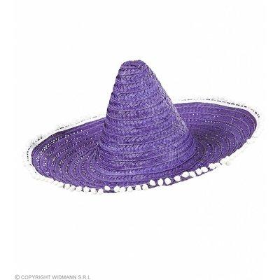 Sombrero 50Cm Blauw/Paars Met Pom Poms