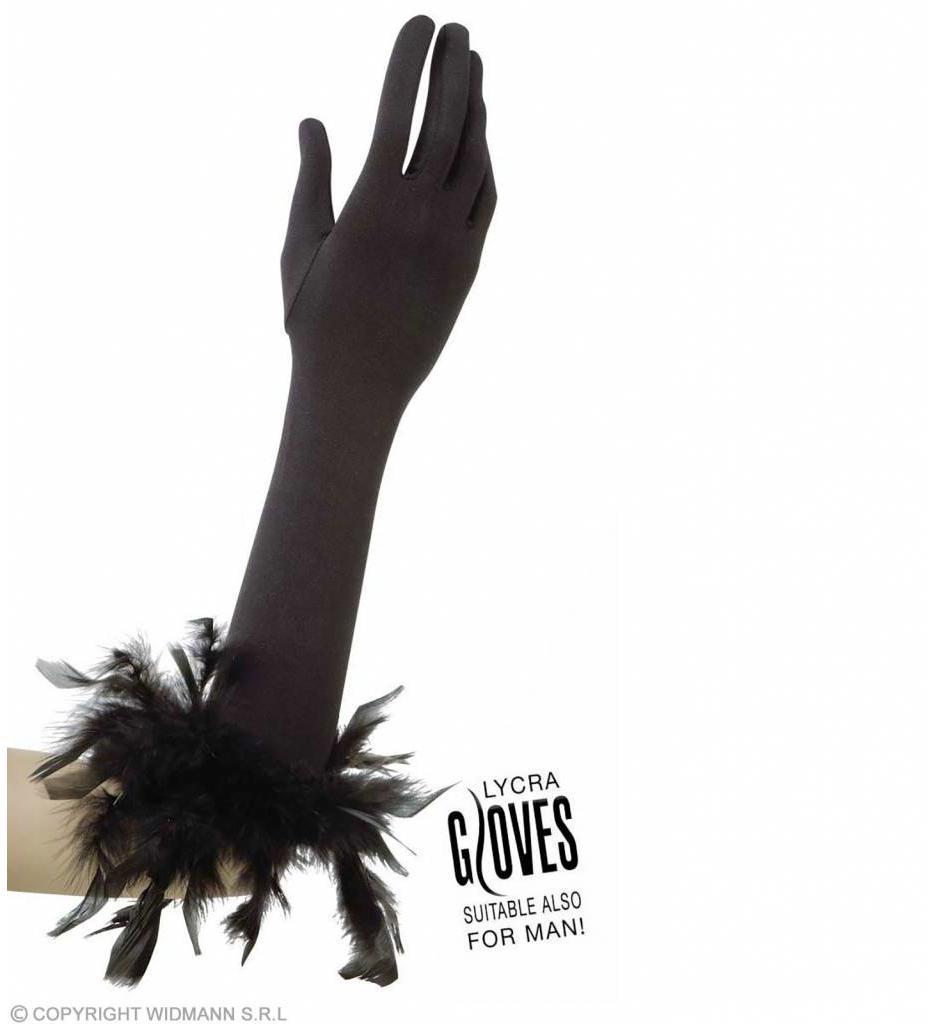 Handschoenen Met Veren Zwart