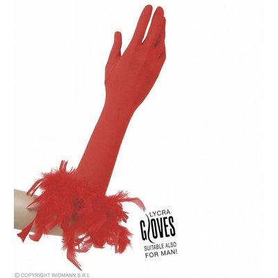 Handschoenen Met Veren Rood