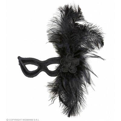 Oogmasker Velours Zwart Met Roos En Veren