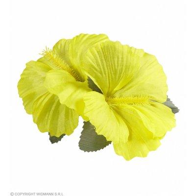 Haarclip Met 2X Hibiscus Geel