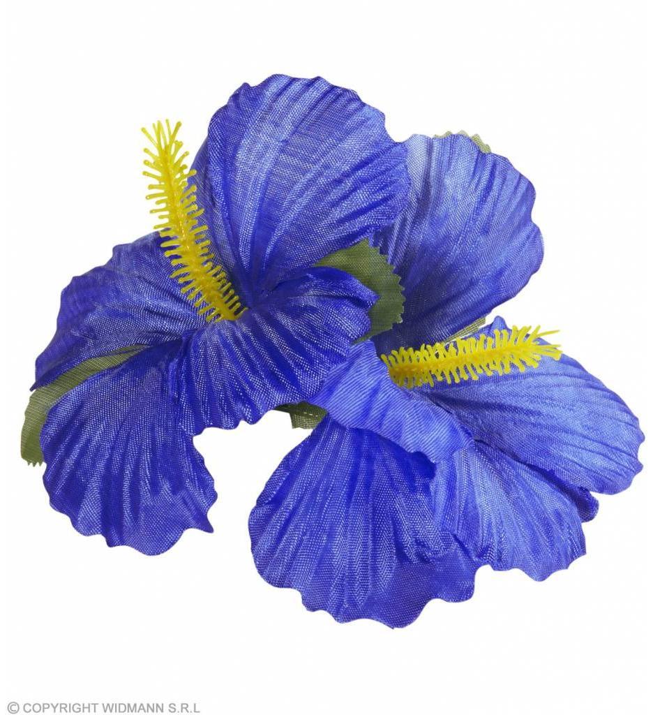 Haarclip Met 2X Hibiscus Blauw