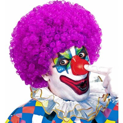 Clownpruik Krullen Paars