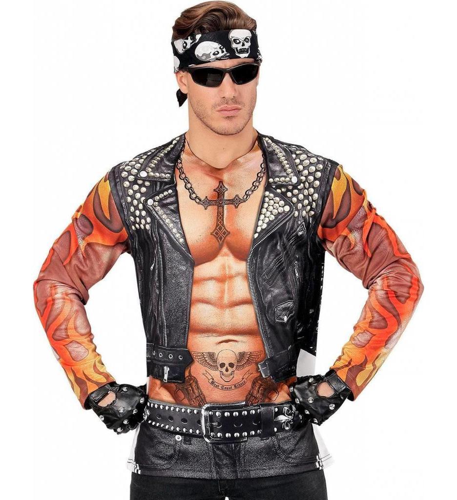 T-Shirt Lange Mouwen Rocker/Biker Man