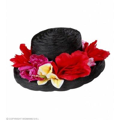 Dameshoed Zwart Met Bloemen