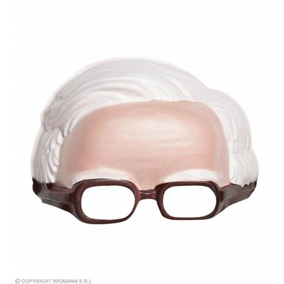 Masker Zonder Kin Met Bril En Witte Haarlijn