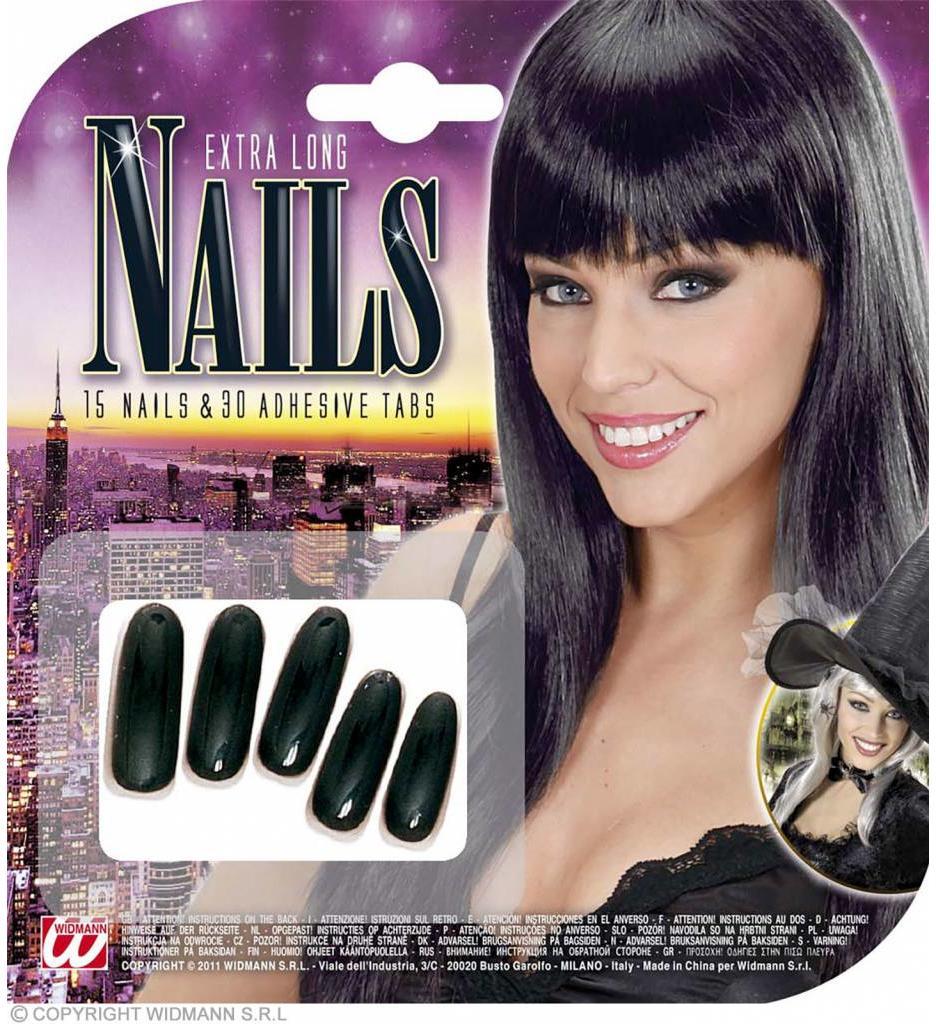 Zwarte Nagels Lang  Per 15 Verpakt