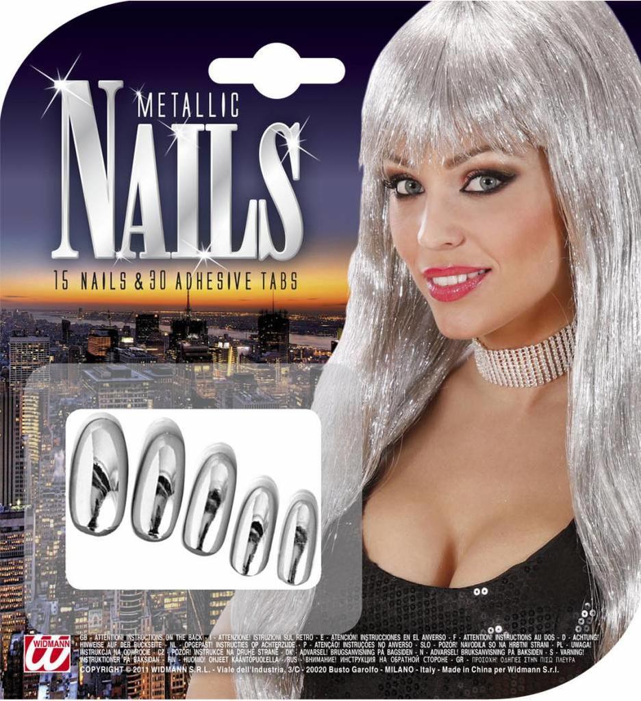 Nagels Zilver Metalic Verpakt Per 15
