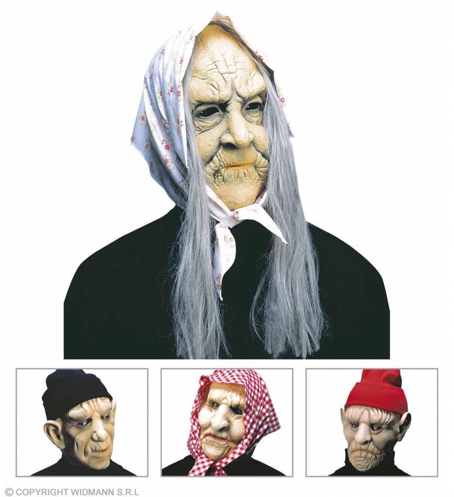 Masker Oude Man Of Vrouw Met Hoofddoek Of Pet