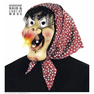 Heksen Masker  Met Oplichtende Neus Haar En Doek