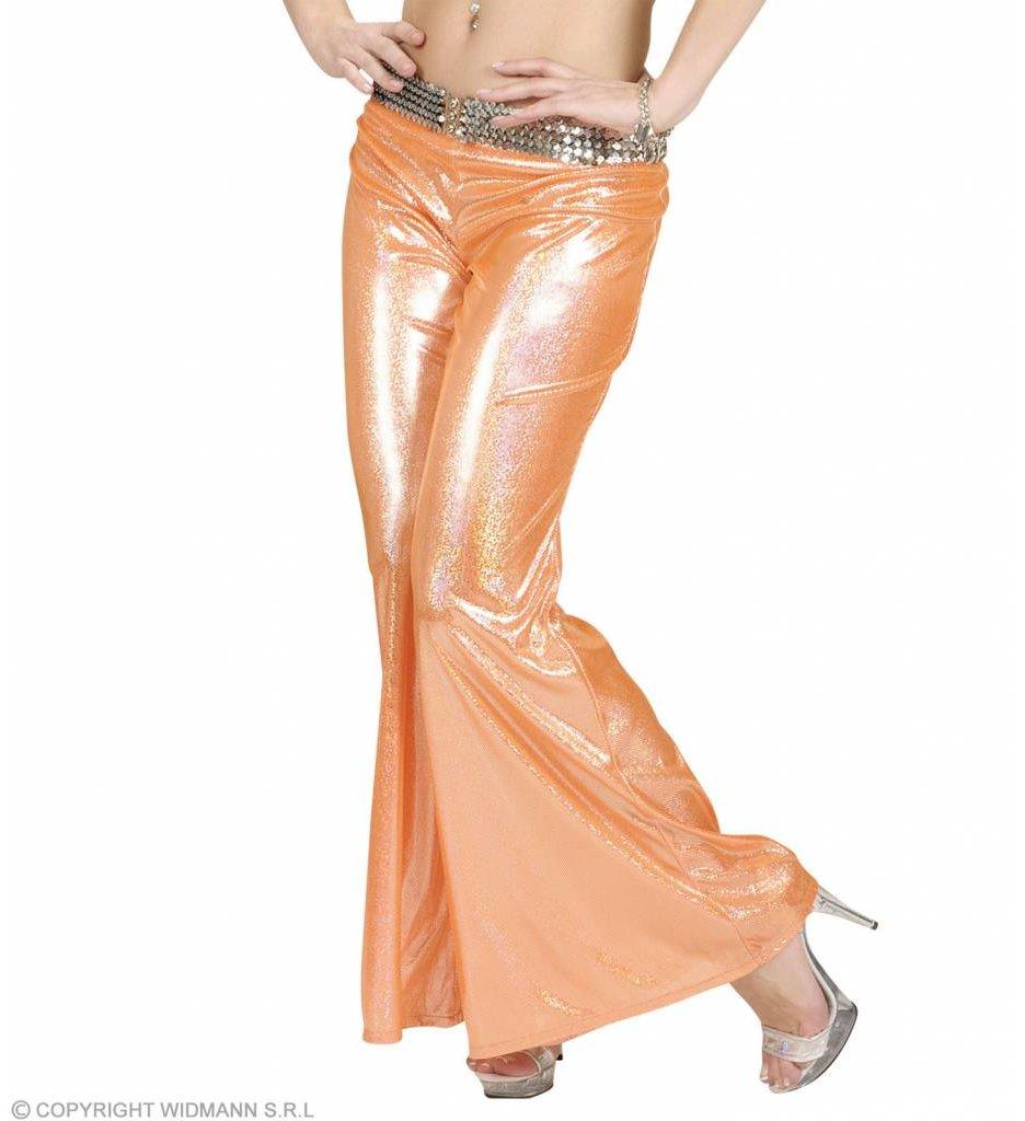 Holografische Broek Dames Oranje