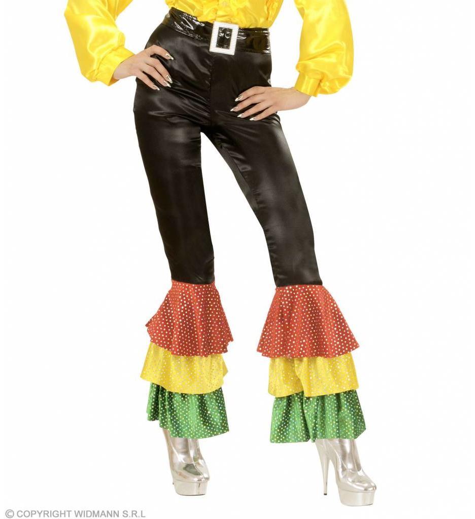 Zwarte Broek Fluweel Met 3 Kleuren  Pailetten Vrouw