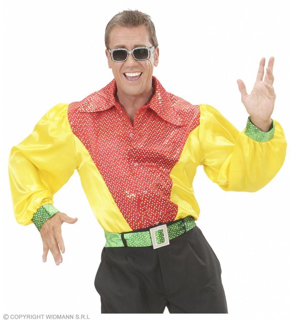 Shirt Pailletten Satijn 3-Kleuren  Man