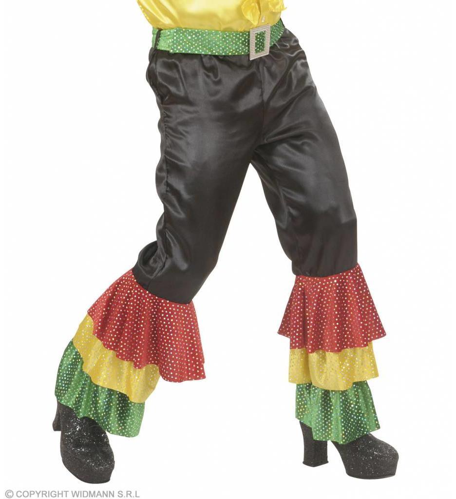 Zwarte Broek Fluweel Met 3 Kleuren  Pailetten Man