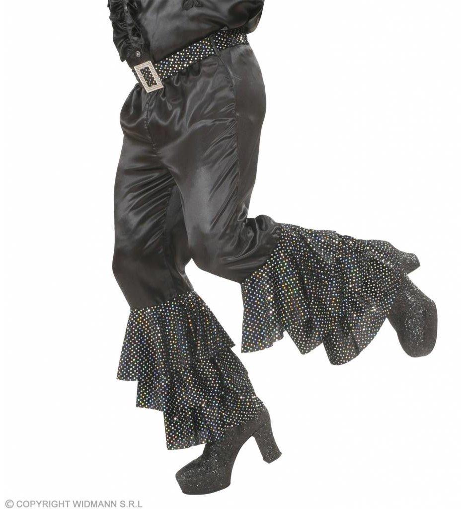 Zwarte Broek Fluweel Met Wt/Zw Pailletten Man