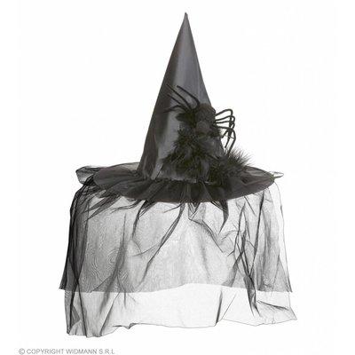 Heksenhoed Met Tule Veren En Spin