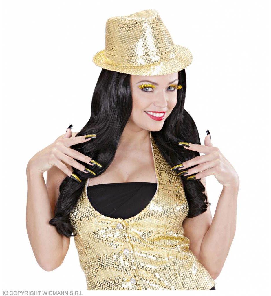 Set Oogwimpers Goud Met 10 Glitternagels
